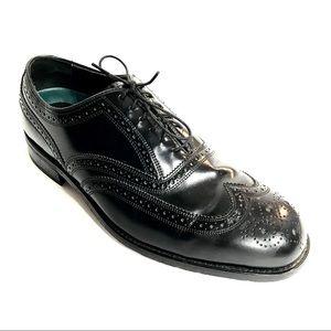 FLORSHEIM Mens Black Leather Wingtips 9.5 D